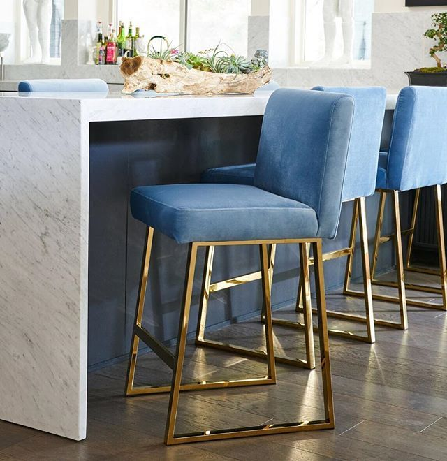 Limited Stock Remaining On Our Linden Stools Brass With Navy Aqua Or Slate Velvet Als Bar Stools Kitchen Island Wooden Dining Room Chairs Kitchen Bar Stools