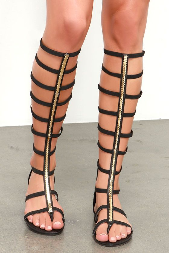 105ac9ca43ca Roman Femme-pire Black Tall Gladiator Sandals at Lulus.com!