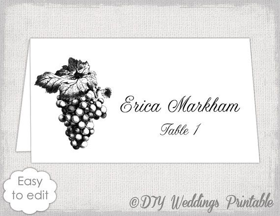 Place card template Grapes name card templates Wine themed DIY – Word Name Card Template
