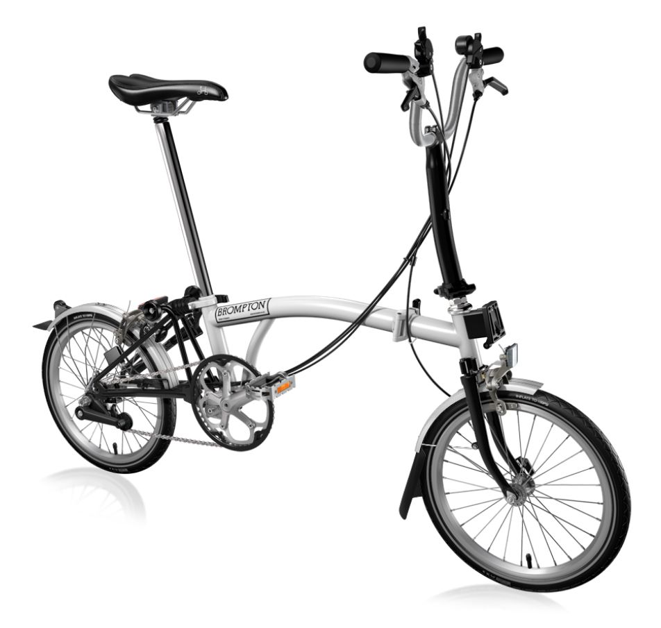 Brompton Folding Bike Hand Made From The Uk White And Black Semi Matte Finish With M Type Handle Bar And 6 Speeds And Fenders Sh Folding Bike Brompton Bicycle