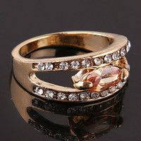 R04149 Size 9.0 Pear Cut Topaz Cubic Zirconia 14k Rose Gold Filled Ring + BOX