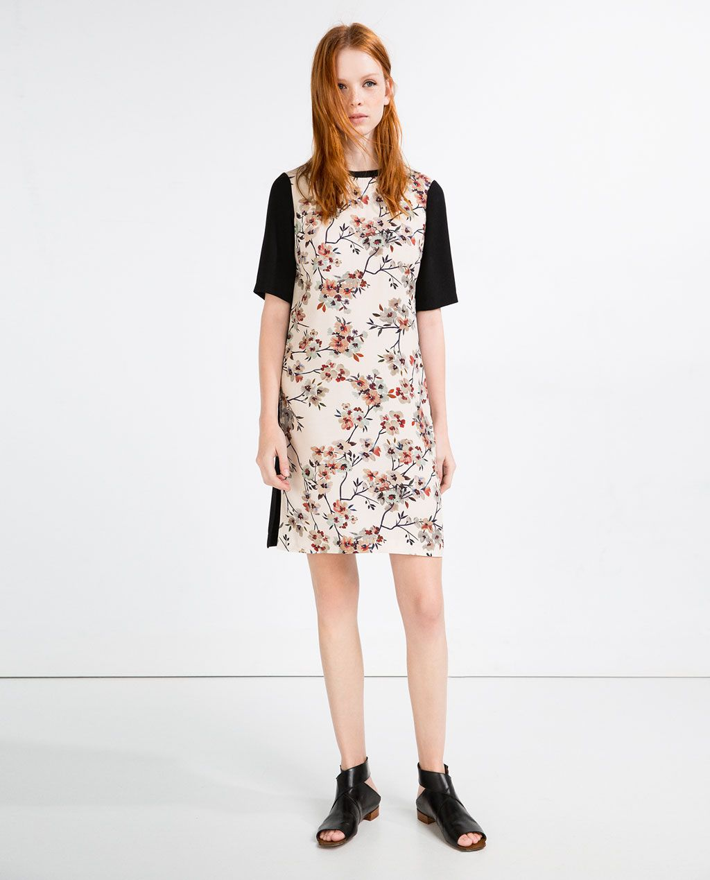 Contrast lace dress zara  Image  of CONTRAST PRINT TUNIC from Zara  casual dresses