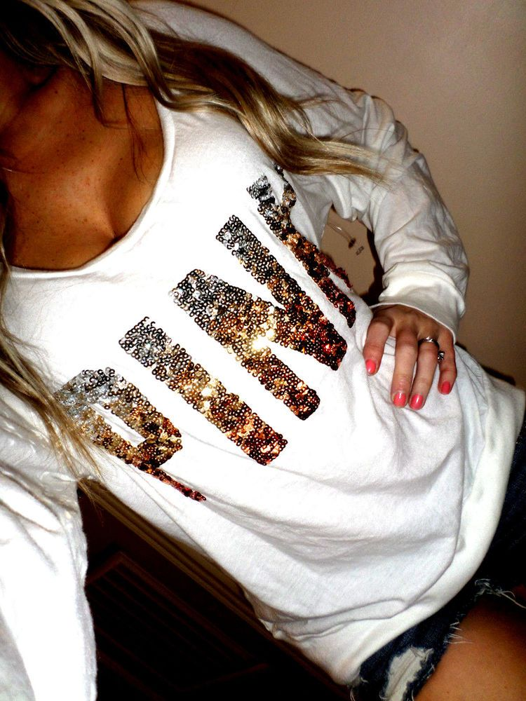 7fa40f321843f Pink by Victoria's Secret white sequin graphics silver/gold long ...