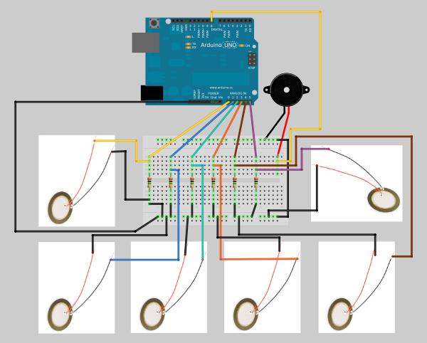 project piezoelectric arduino drum garagelab  arduino