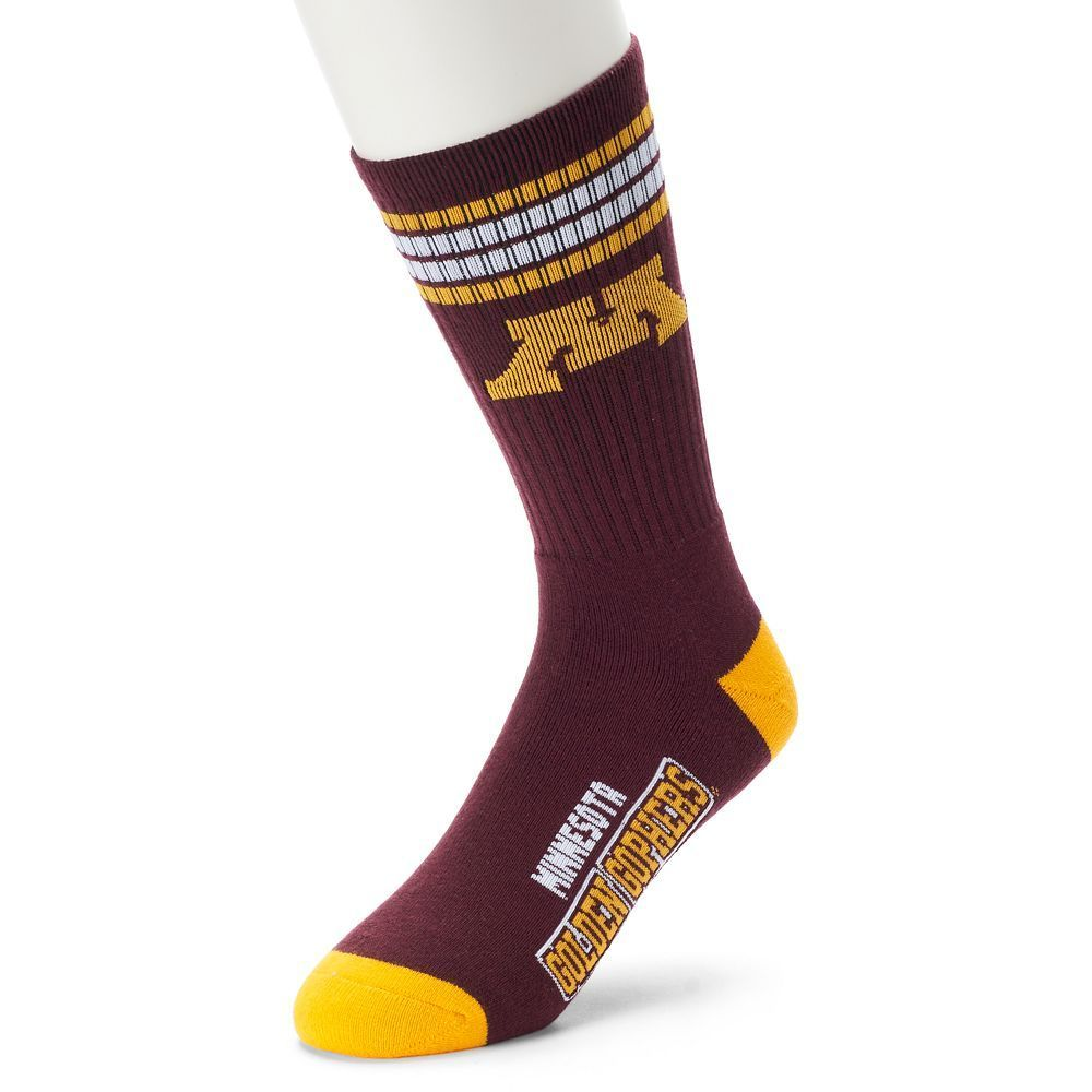 Men's For Bare Feet Minnesota Golden Gophers Deuce Striped Crew Socks, Size: Large, Ovrfl Oth