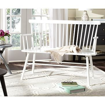 Spindle Back Settee Wood Bench White At West Elm