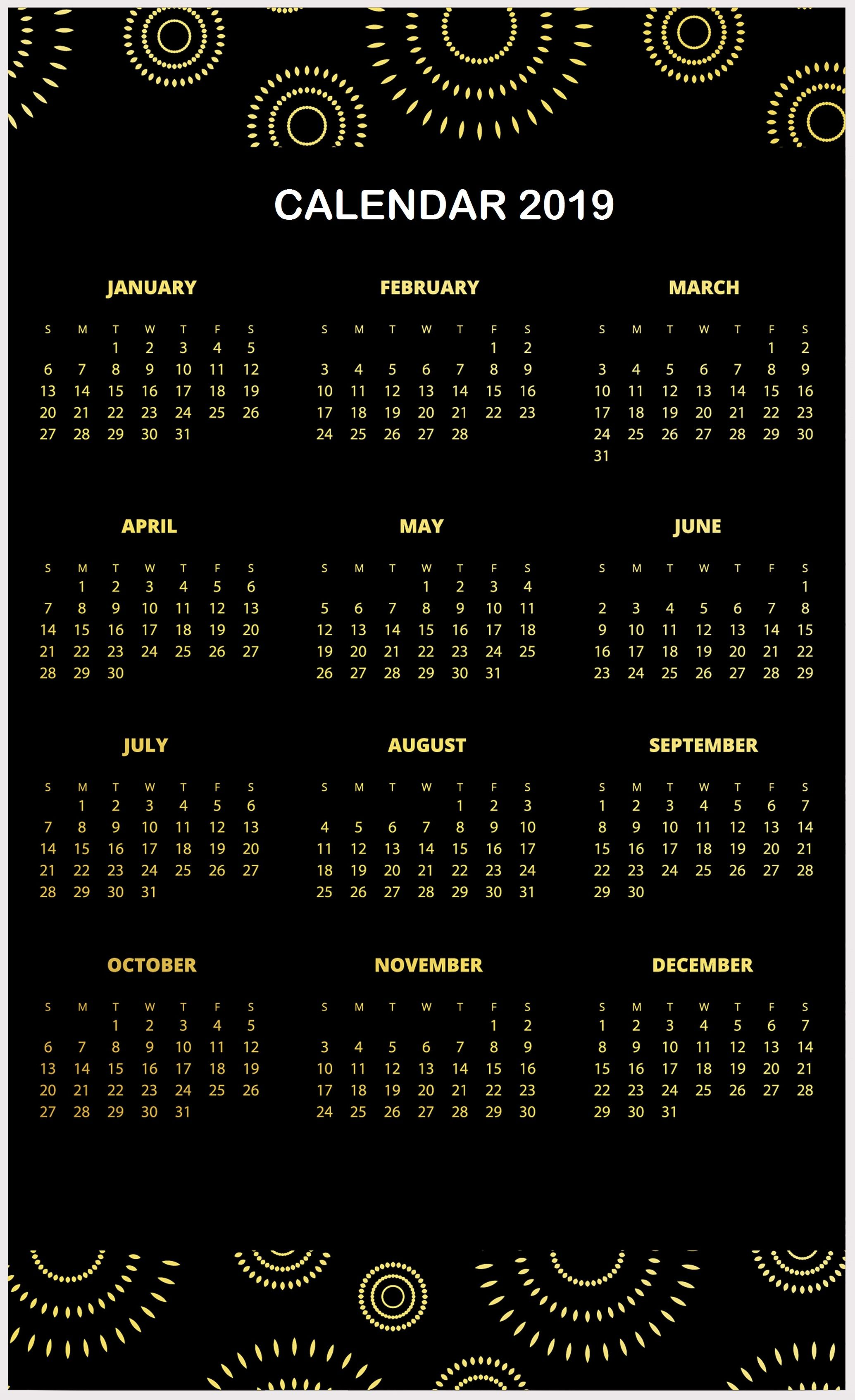 Amazing 2019 Calendar Template One Page Design Layouts Calendar