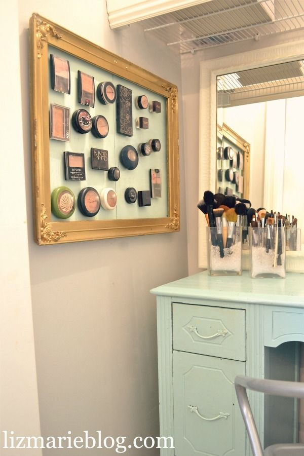 Bathroom organization: fantastic idea if you have the wall space. Makeup = Art