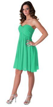Katherine Styles Green Strapless Sweetheart Pleated Bust Chiffon Dress