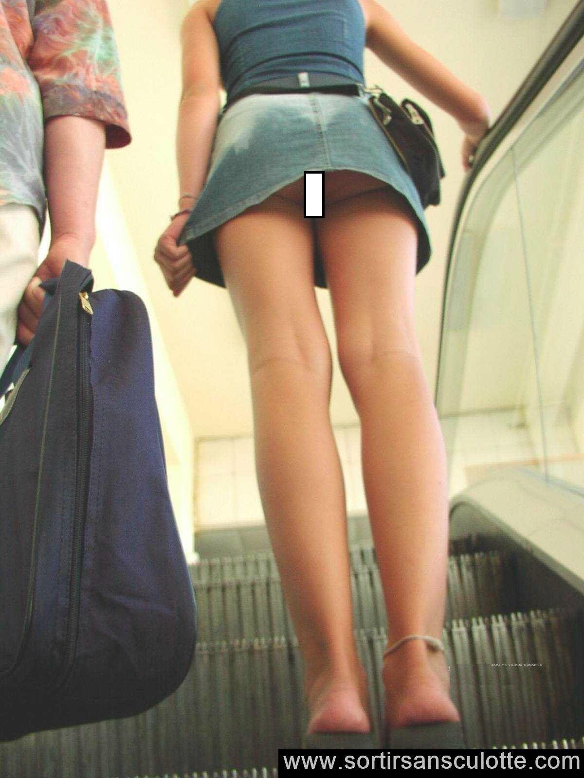 Day orgasm escalator flash upskirt moore getting