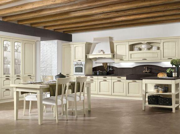 Cucina classica anta telaio frassino decapè magnolia, piano di ...