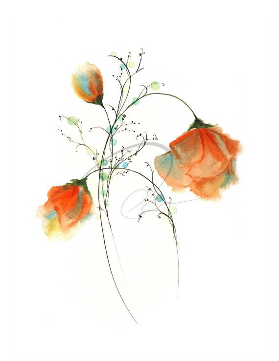 Faithful Expression Watercolor Art Print Red Roses Flowers