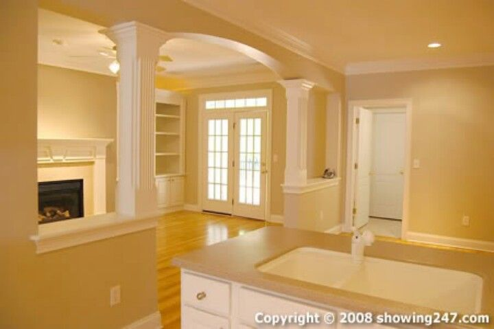 Half Wall Idea To Open Up The Living Room Space Love The