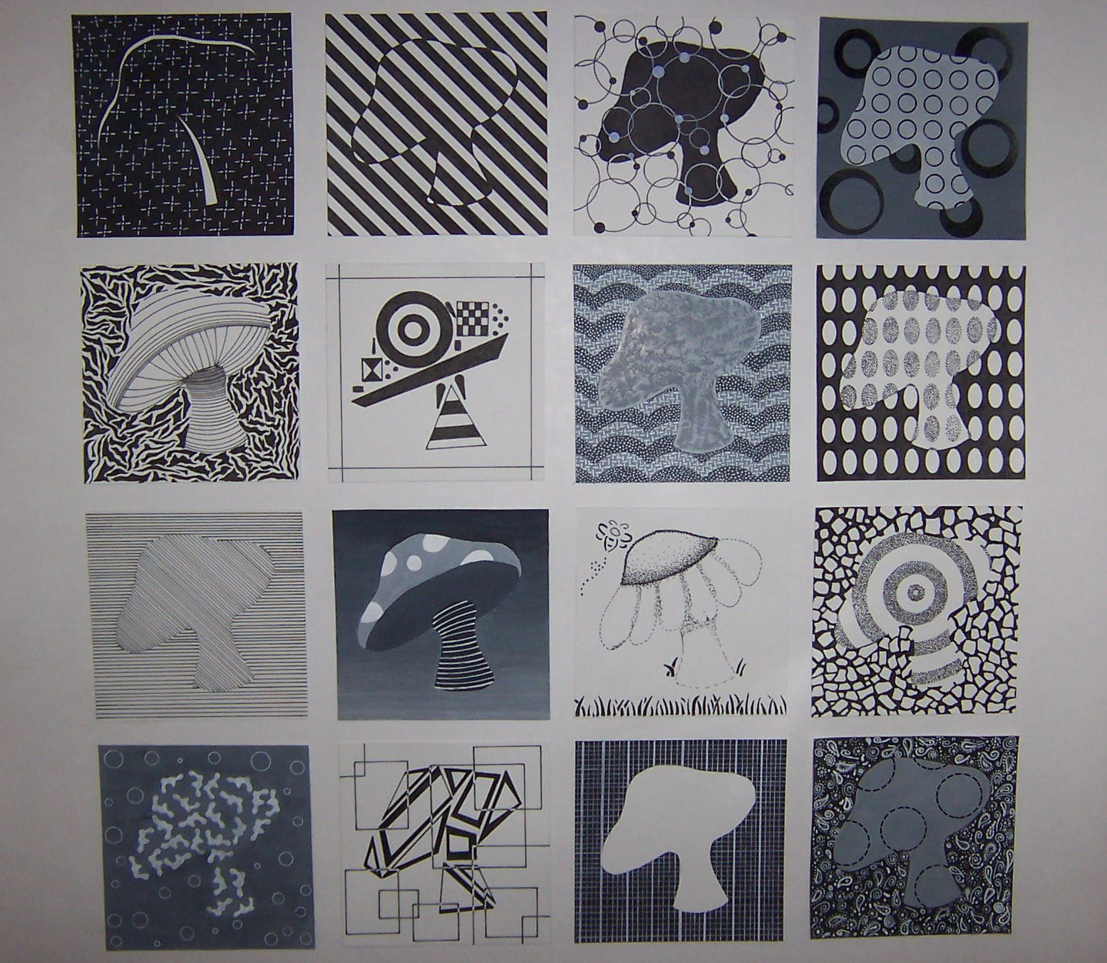 16 Squares From College Basic Of Design Class Displaying All Of The Elements Amp Principles Of