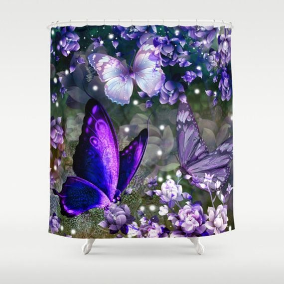 Butterfly Shower Curtain Purple Lavender Floral Butterfly Shower