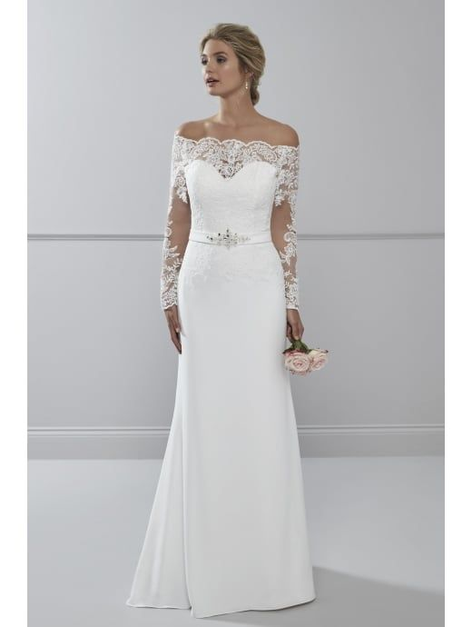 Romantica Lourdes Soft Crepe Wedding Dress With Sleeves Ivory ...