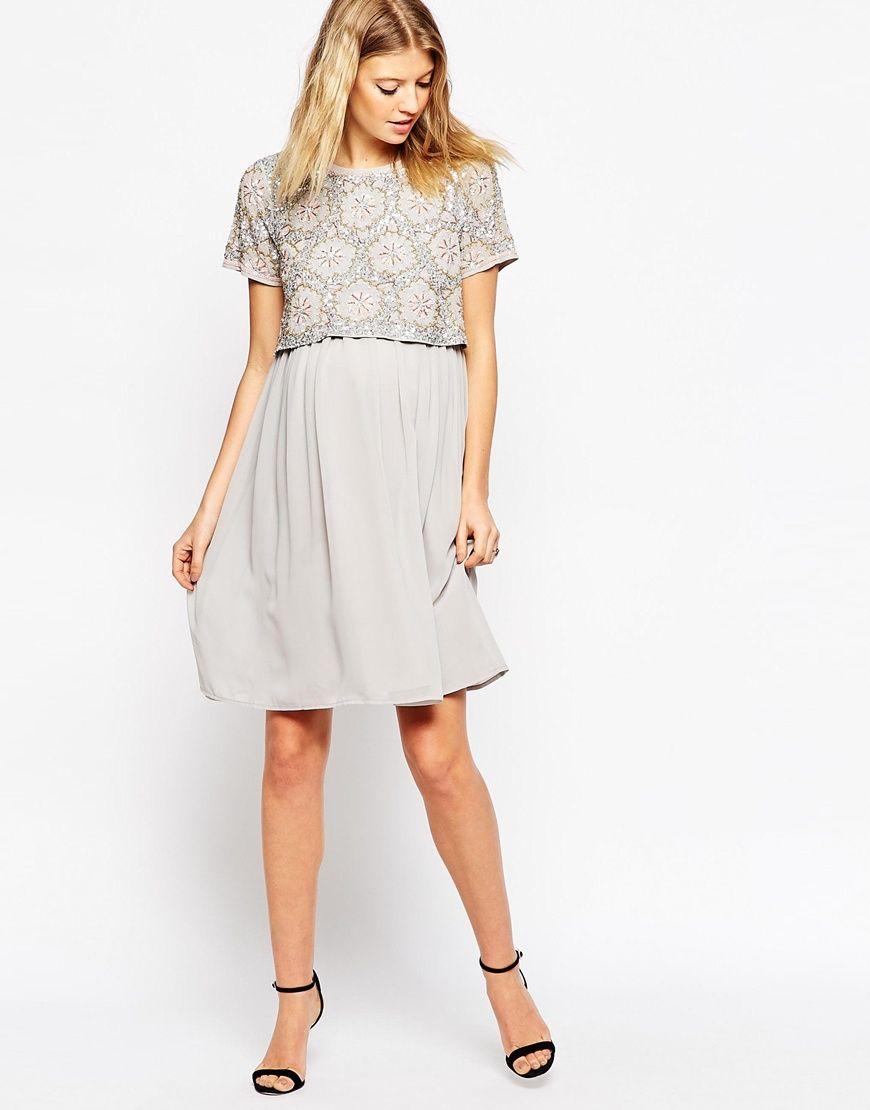 958428160a6 Image 4 of ASOS Maternity NURSING Embellished Midi Dress