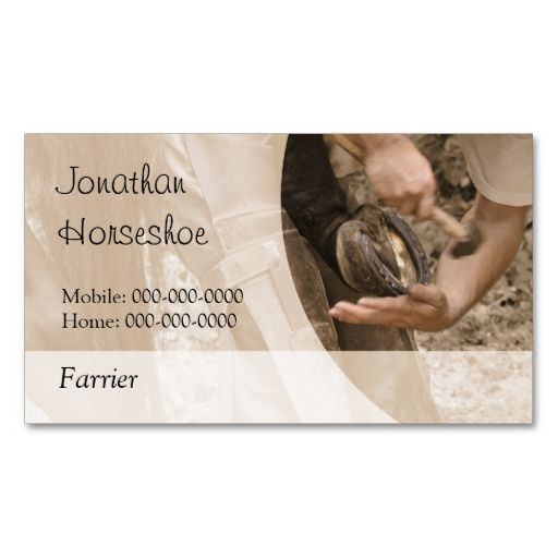 Shoeing A Horse With A Blank Reverse Business Card Zazzle Com Magnetic Business Cards Customizable Business Cards Farrier