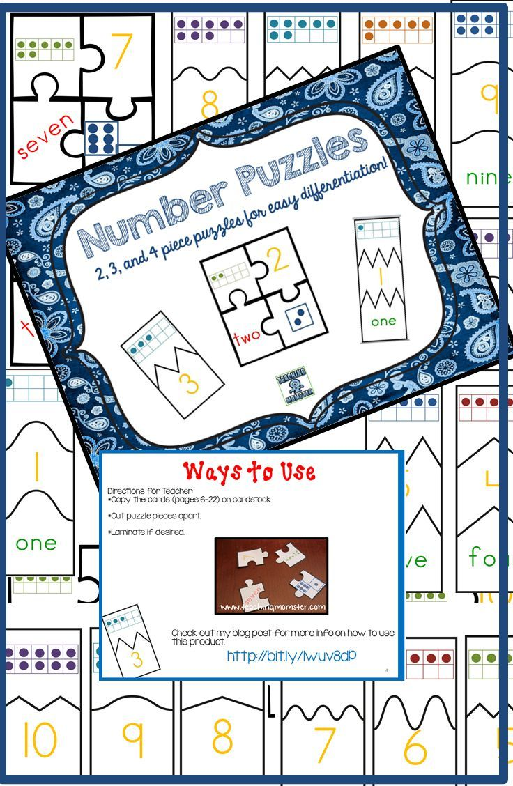 Number Puzzles--Match number, ten frame, word, and dice dots ...