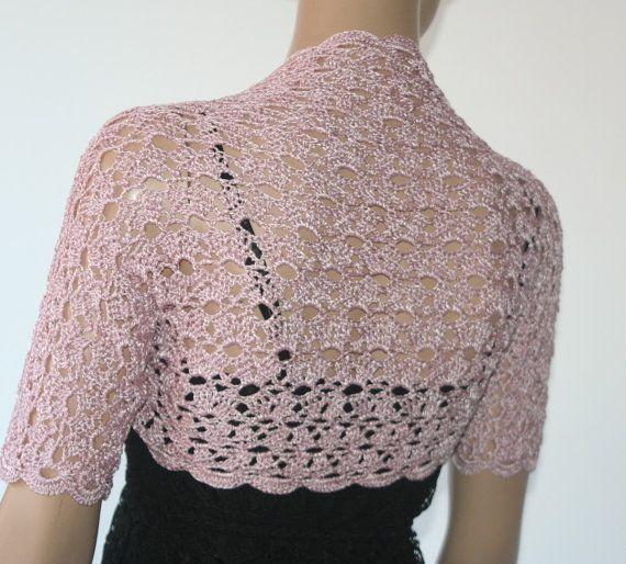 Dusty Pink Wedding Bolero/ Shrug crochet silk by GABRIELAFAUR