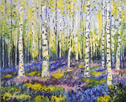 Bluebells And Silver Birch In Spring Birches Painting Tree Art