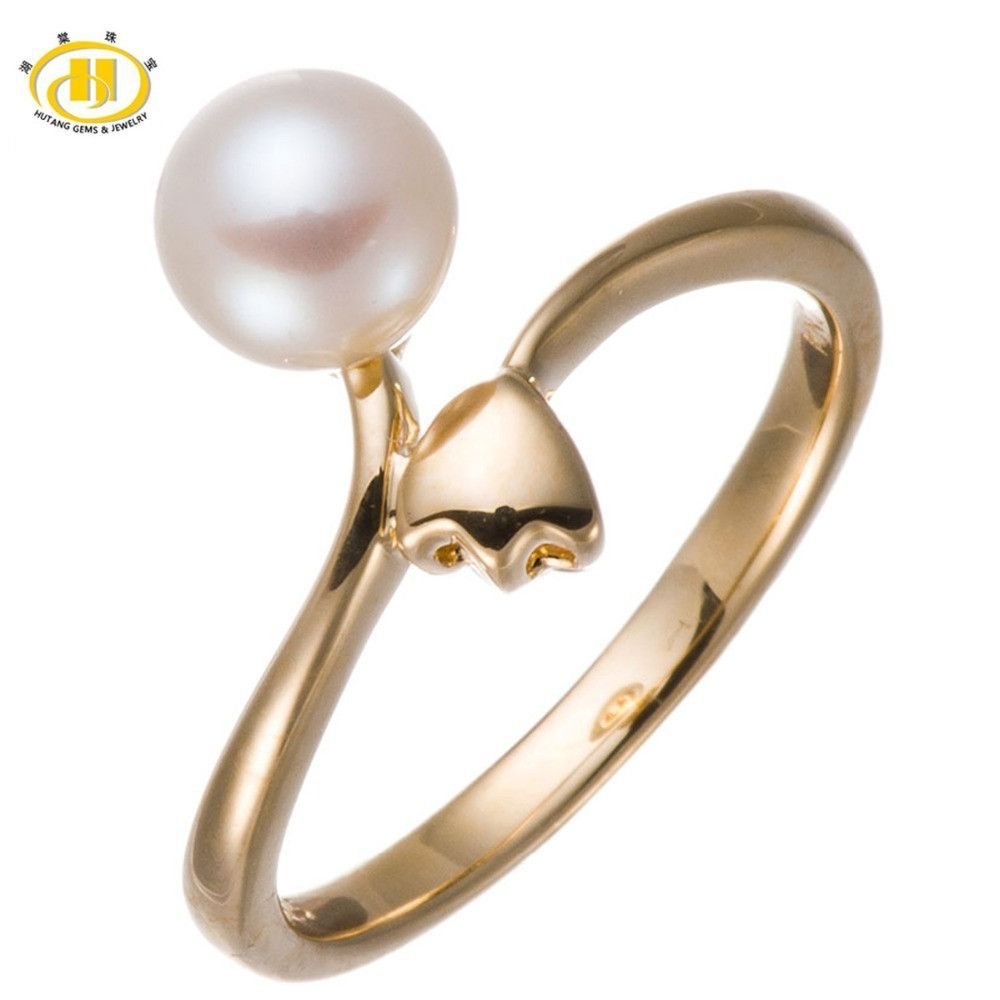 Size 10.5 Solid 925 Sterling Silver Freshwater Pearl Jewelry Ring Gold-plated-silver for Womens Girl Wedding