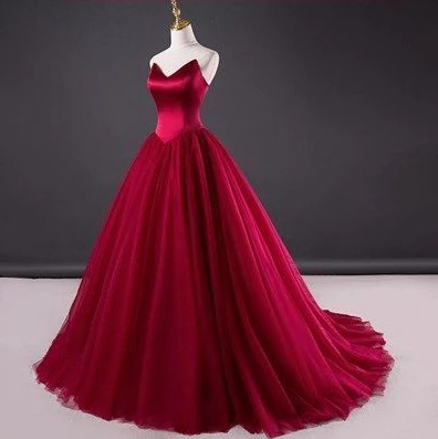 Photo of Burgundy Prom Dress, Evening Dress ,Winter Formal Dress, Pageant