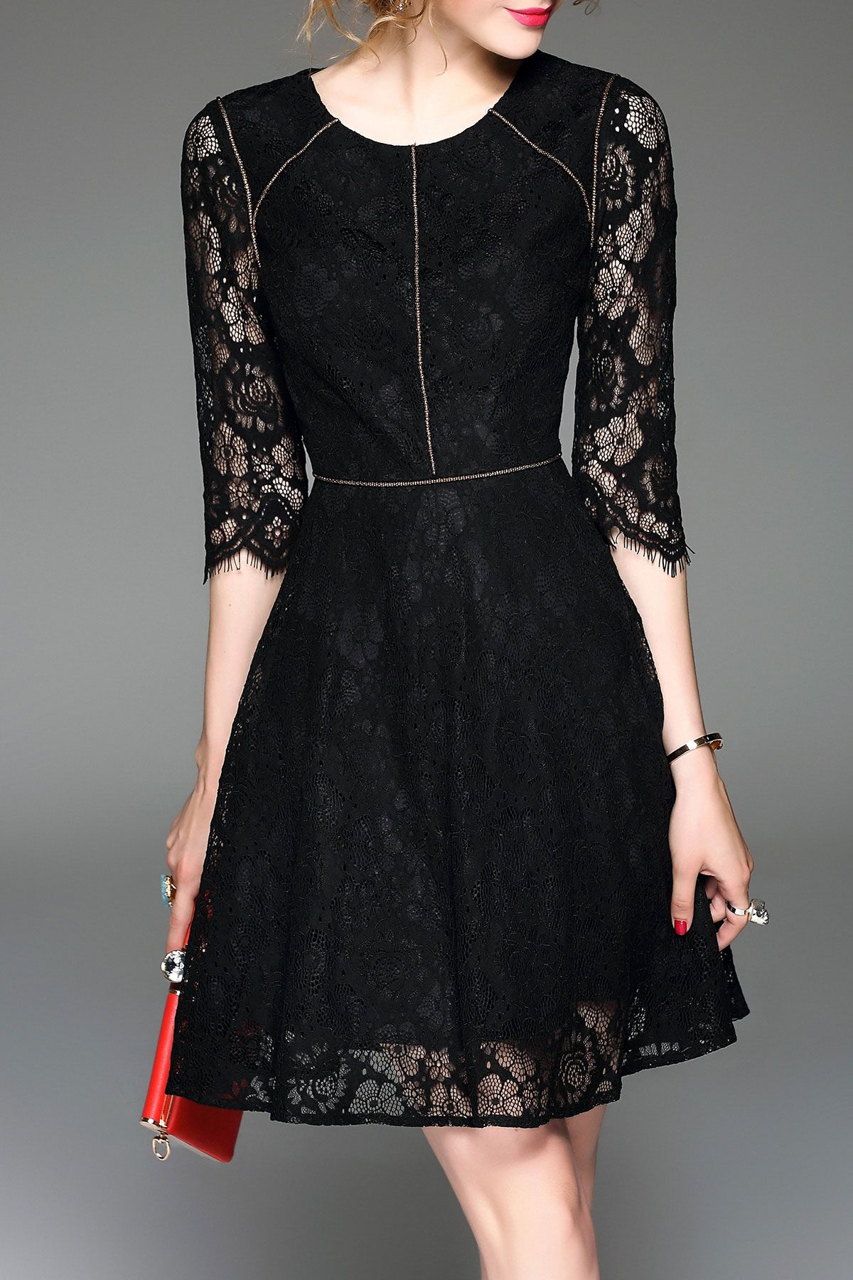 Seethrough aline lace dress lace dress shopping and black