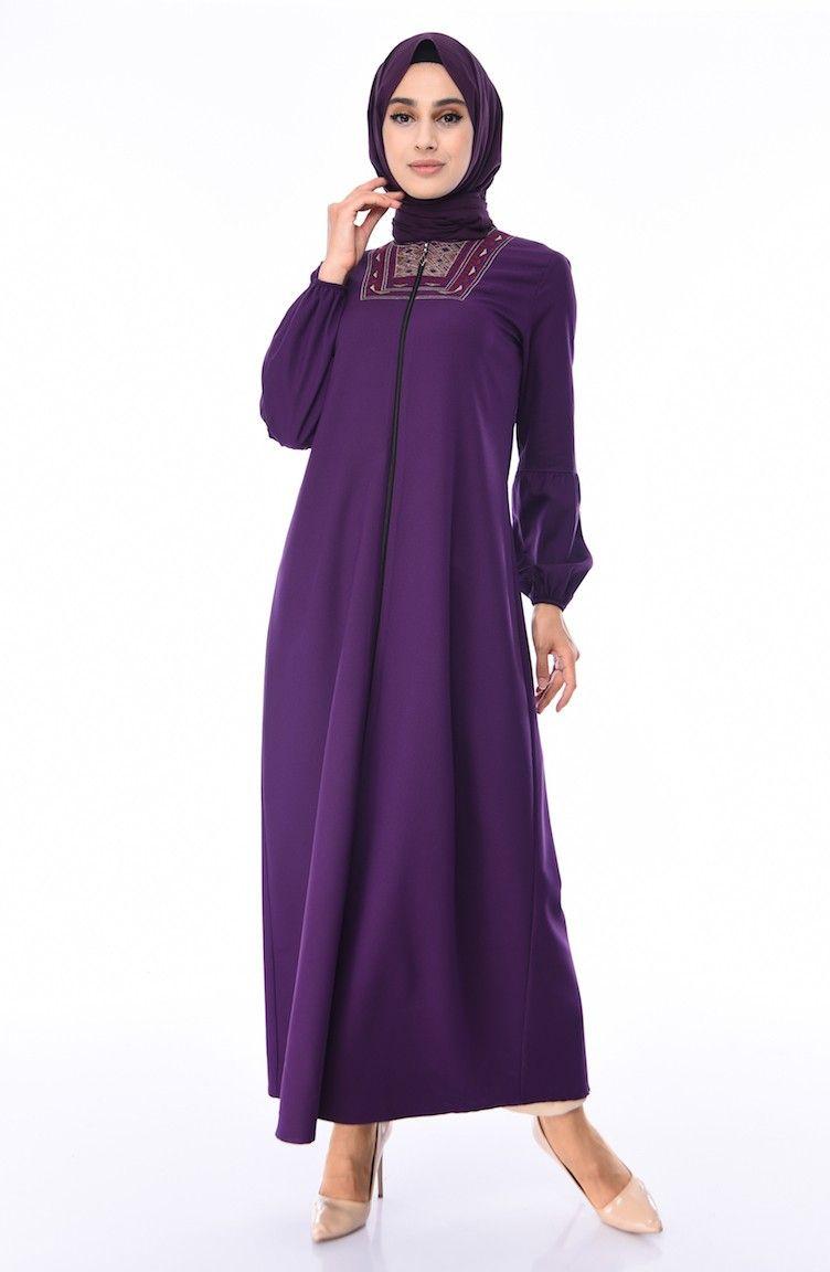 عباية بتفاصيل مطرزة لون بنفسجي Chic Hanim Fashion Purple Abaya