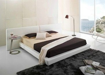 Modern Queen Size Platform Bed w/ Extra Wide Headboard in White Leather modern beds