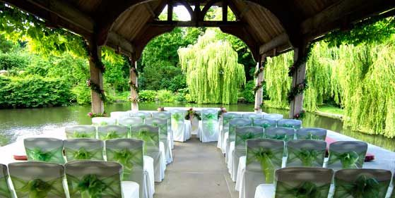 The Dairy Pavilions With A View Of Lake Set Up For Wedding Ceremony