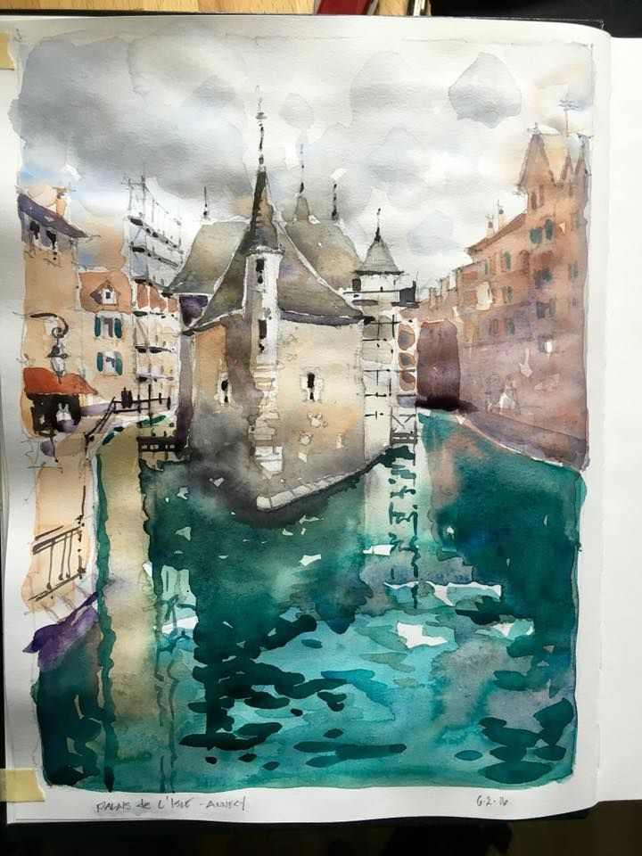Iain Stewart Watercolors    Palais de L'Isle. Quick sketch on site. #Stillman&Birn Sketchbooks #DanielSmith_Art #EscodaBrushes — at Annecy, France.