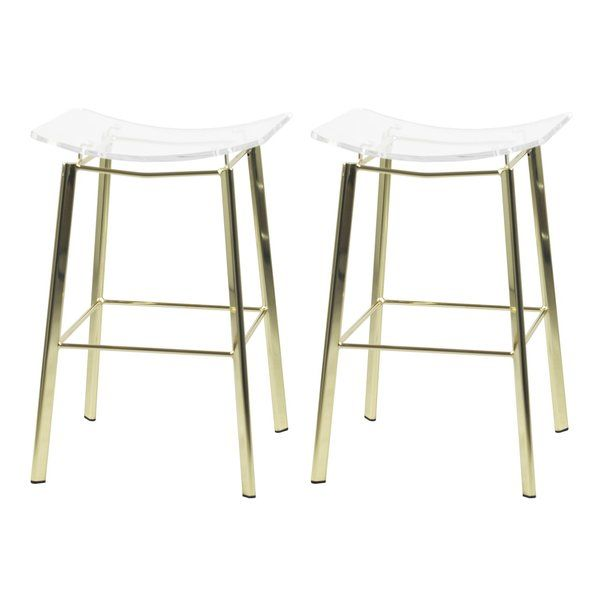 This Lucite Counter Stool Features And Acrylic Saddle Seat And Metal Frame Its 24 Amp Quot Seat Height Makes It Pe Metal Bar Stools Bar Stools Counter Stools