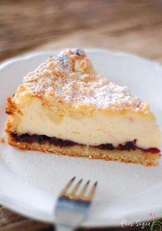 Landfrauen Käsekuchen mit Vanillequark und Beerenkonfitüre #apfelrosenrezept