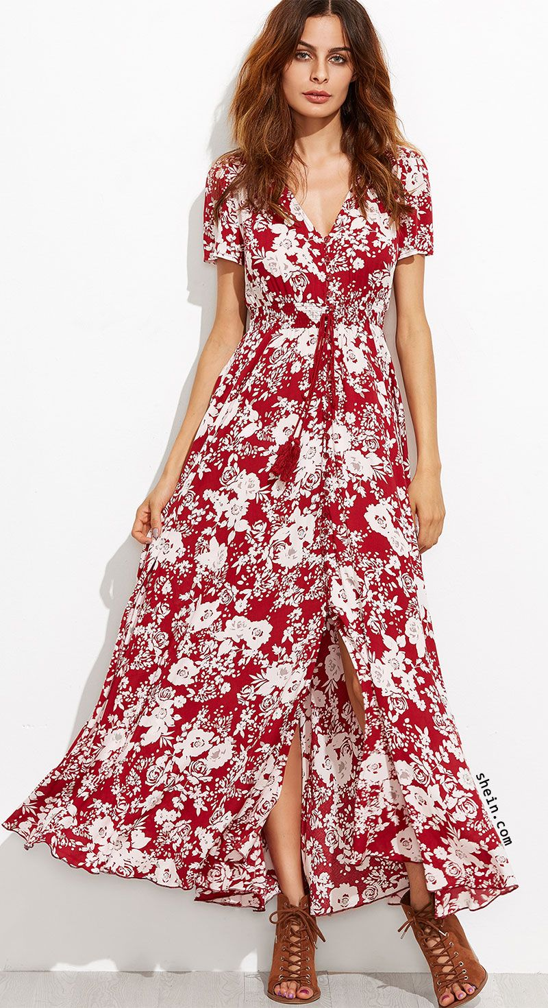 Burgundy Floral Self Tie Fringe Split Dress | Dresses | Pinterest ...