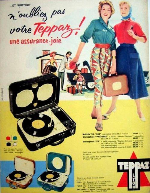 Teppaz Lyon portable record players, 1957