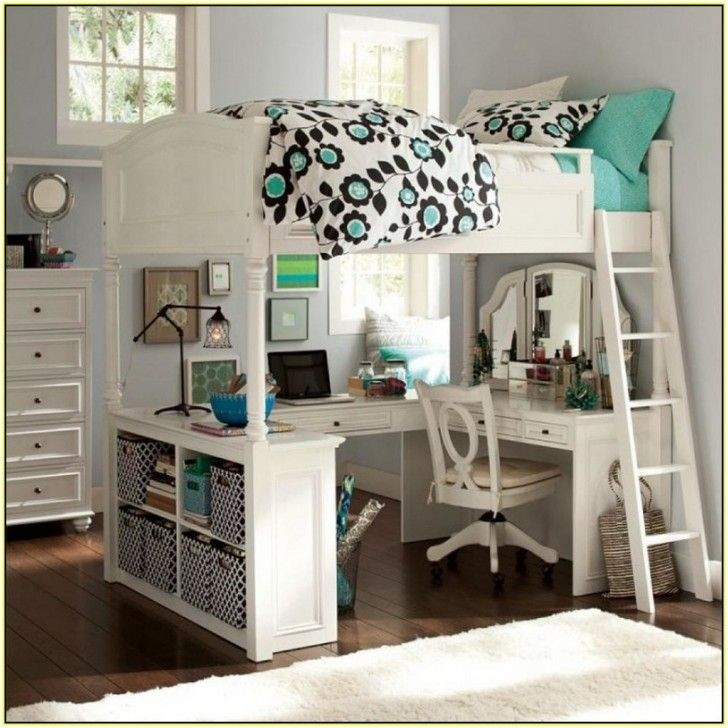Bedroom Pretty White Girls Loft Bed Idea With U Shaped Desk