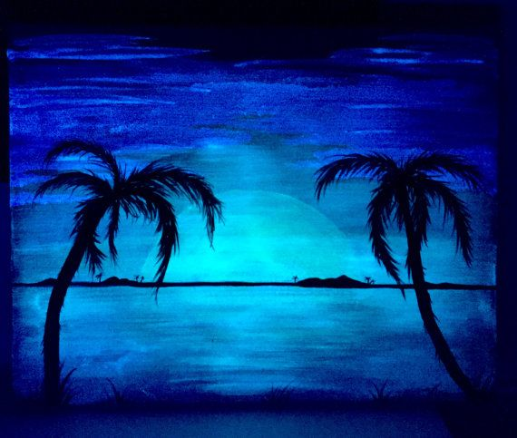 Palm Tree Beach Glow In The Dark Landscape 2 1 Acrylic Art Orange By Day Cool Blue At Night Color Changing Original Painting
