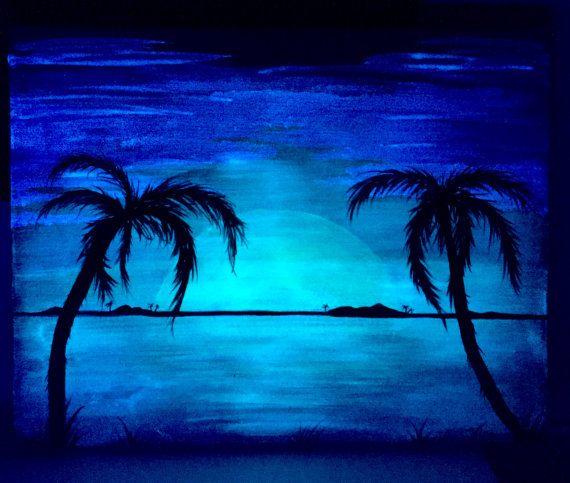 Glow In The Dark Palm Tree Beach Landscape Made To Order Warm Orange Sunset By
