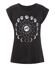 Black Mystic Moon Life Cycle T-Shirt | New Look