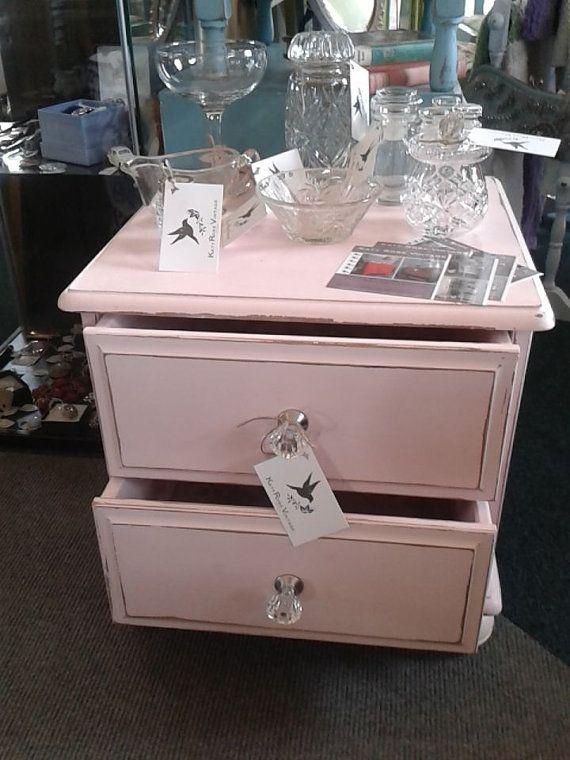 Pink Bedside Table: Giselle Rose Bedside Table In Distressed Ballet Pink Hues