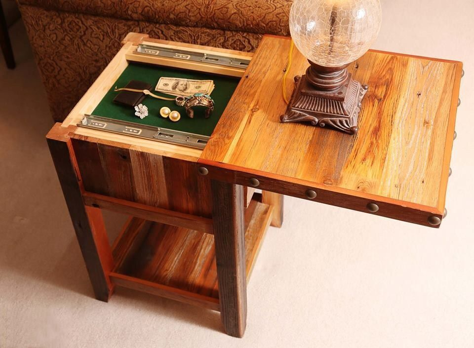 Hidden Compartment Nightstand End Table Diy Storage End Table