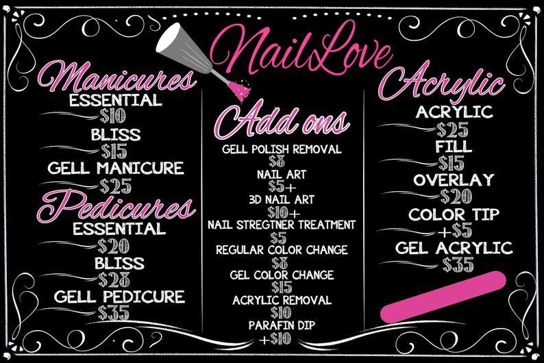 Manicure Price List Pedicure Menu Nail Salon Business Menu Etsy In 2020 Manicure Prices Manicure Pedicure