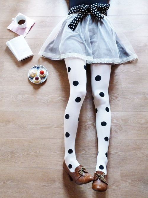 pastel blue lace trim skater mini skirt + bnw spots tights legs + bow belt + shoes heels | spring fall style