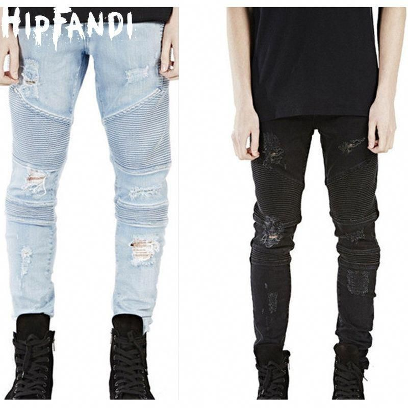 Hensdbag Fashion Mens Distressed Ripped Hipster Hip Hop Biker Jeans for Male