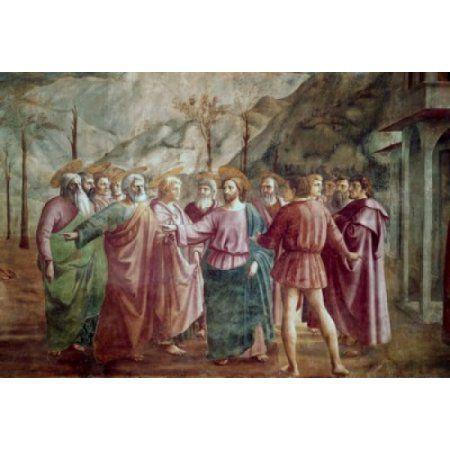 The Tribute Money - Detail #2 (From The Life Of St Peter Cycle) 1425-28 Masaccio (1401-1428 Italian) Fresco Cappella Brancacci Santa Maria del Carmine Florence Italy Canvas Art - Masaccio (18 x 24)