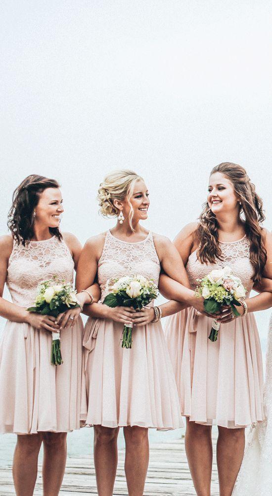 Londyn | Chiffon bridesmaid dresses, Blush pink and Lace top ...