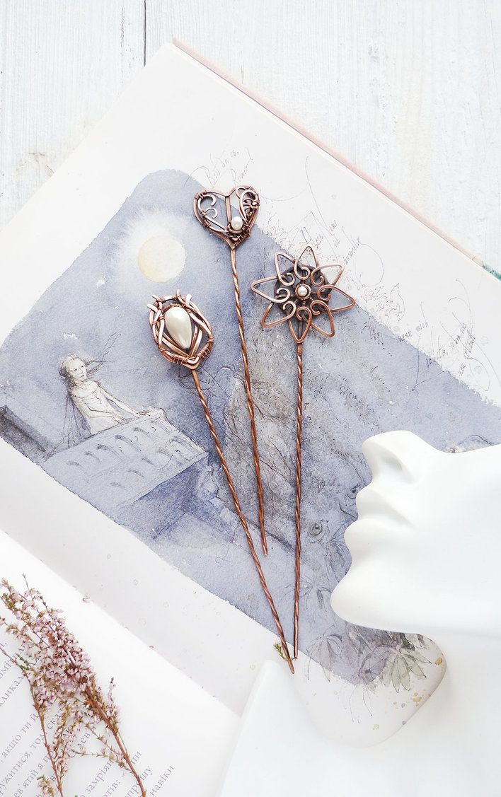 Set of copper hair pins by UrsulaJewelry.deviantart.com on ...