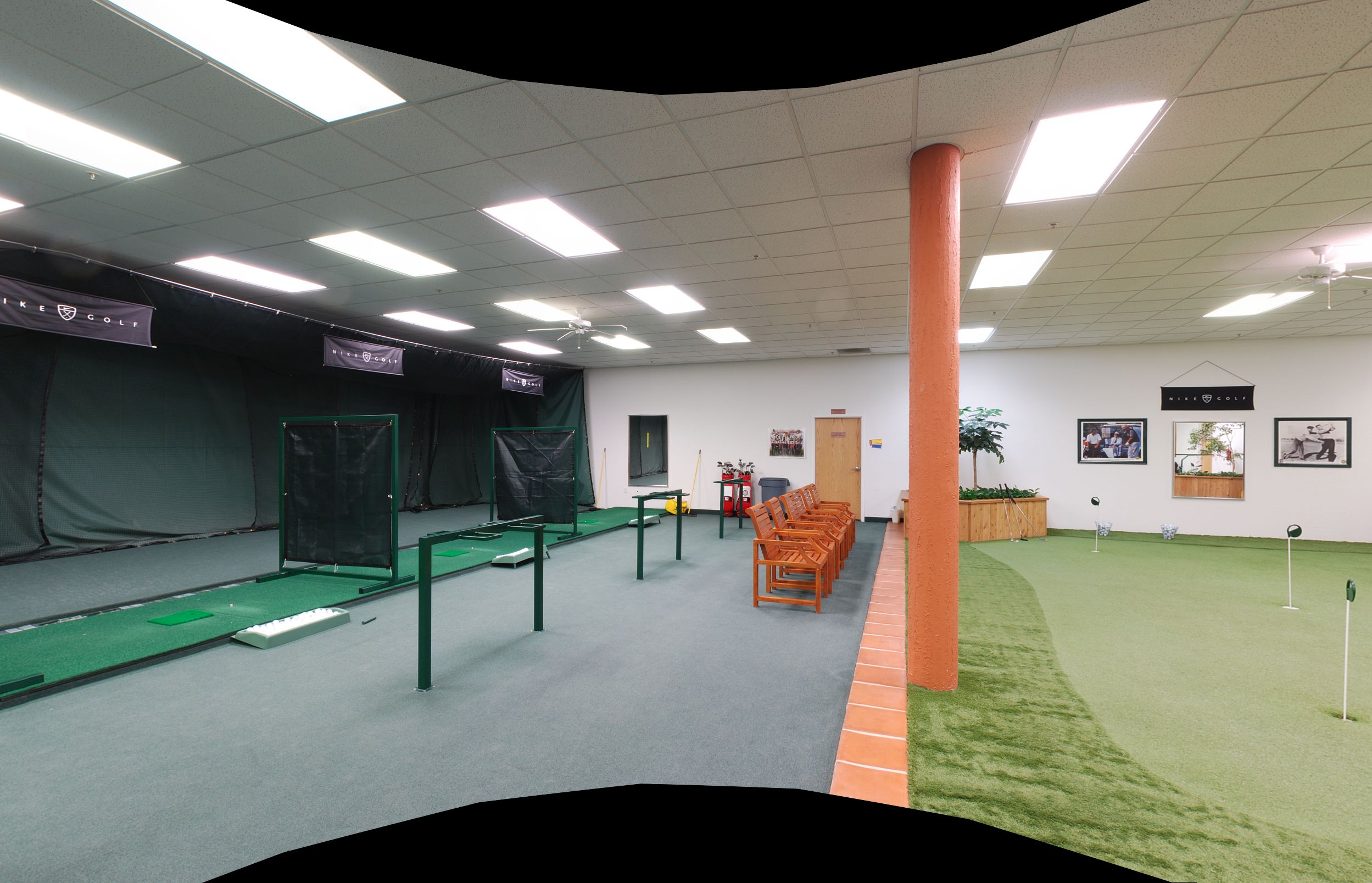 Indoor Golf Driving Range And Putting Green.