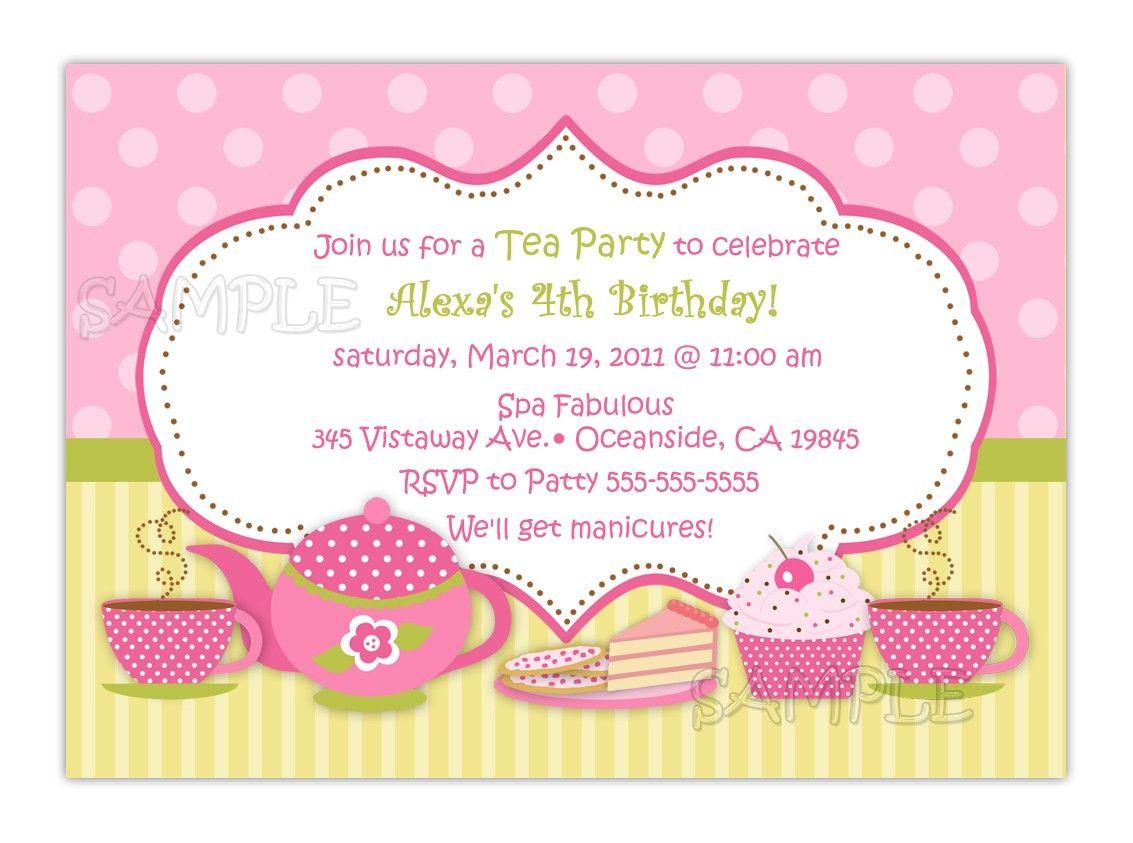 tea party birthday invitation you